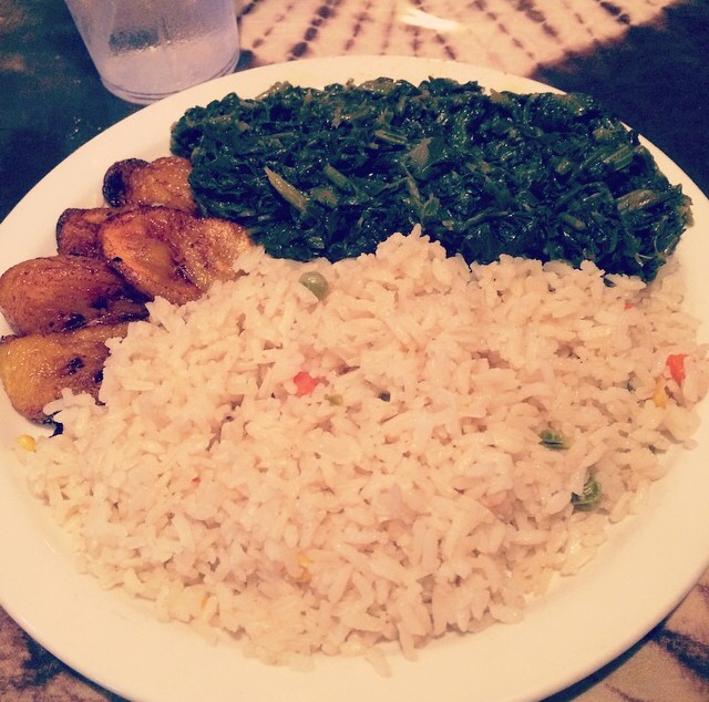 Bennachins French Quarter African Restaurant Jama Jama sautéed spinach, ripe plantains and coconut rice